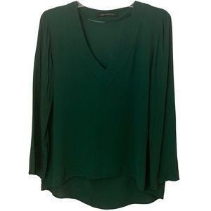 Zara Dark Green V-Neck Long Sleeve Blouse
